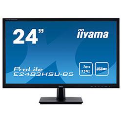 """image produit Iiyama E2483HSU-B5 - 24"""" LED/1ms/FHD/VGA/DVI/DP/HP # Cybertek"""