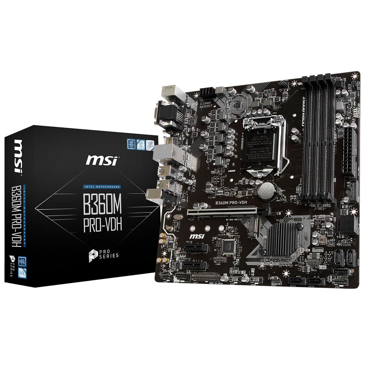 MSI B360M PRO-VDH Micro-ATX DDR4 - Carte mère MSI - Cybertek.fr - 0