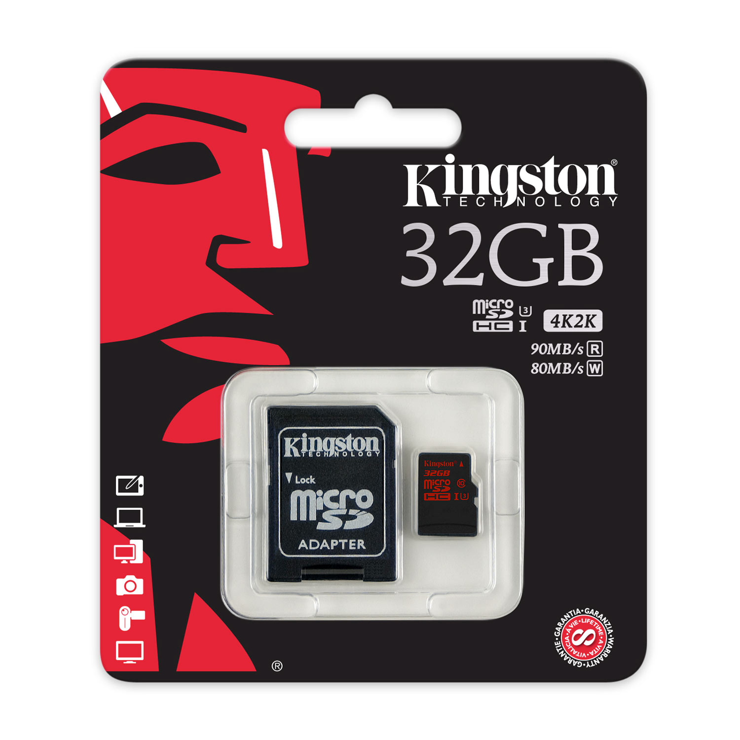 Kingston Micro SDHC 32Go UHS-I U3 + Adapt. - Carte mémoire - 2