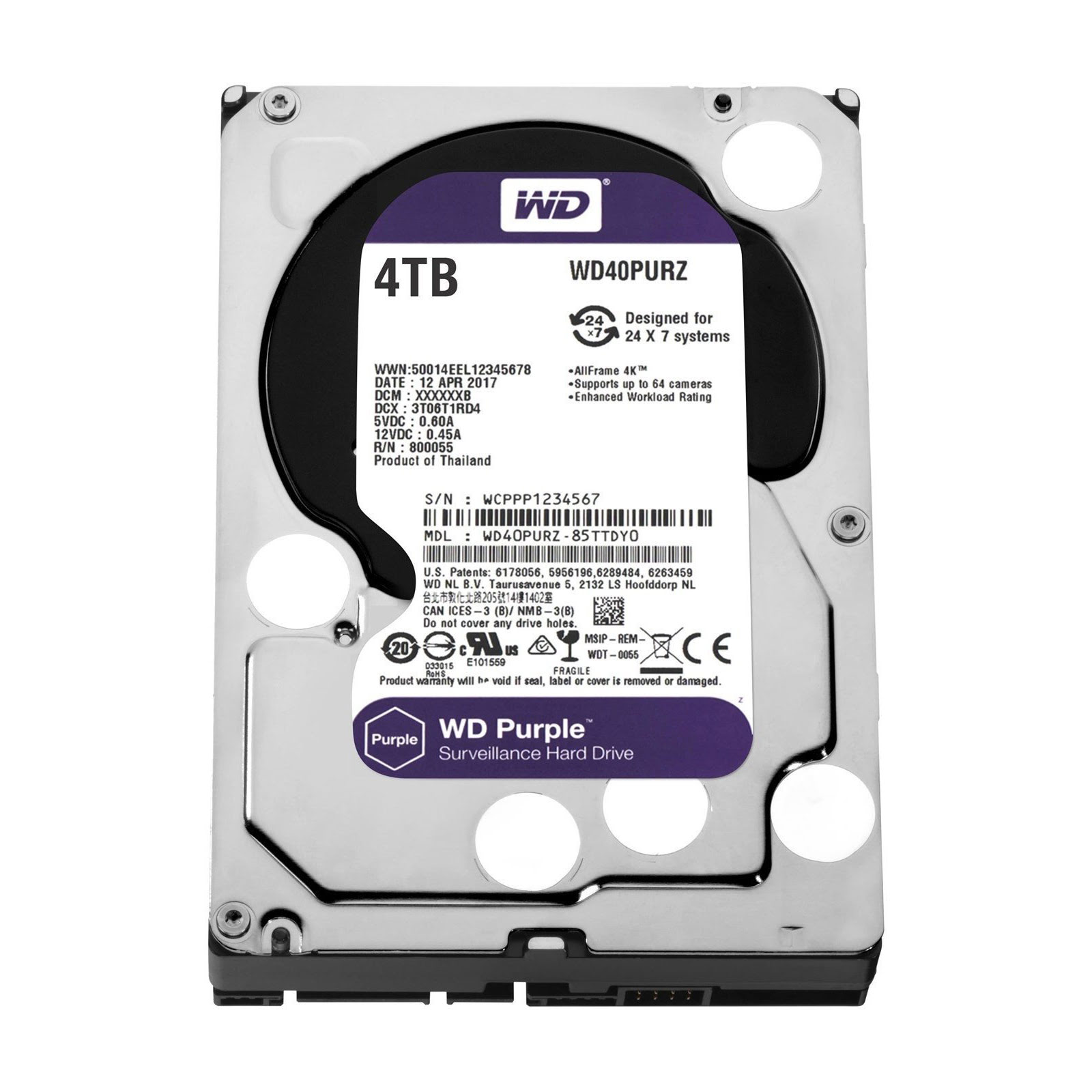 "WD 4To Purple SATA III 64Mo WD40PURZ - Disque dur interne 3.5"" - 0"