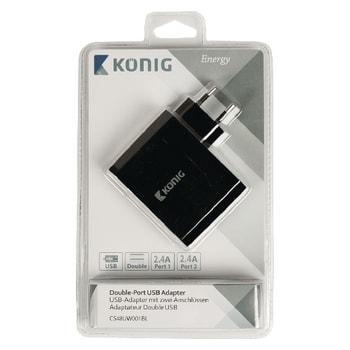Chargeur mural 2 USB 2.4A - 4.8A Noir - Accessoire tablette König - 2