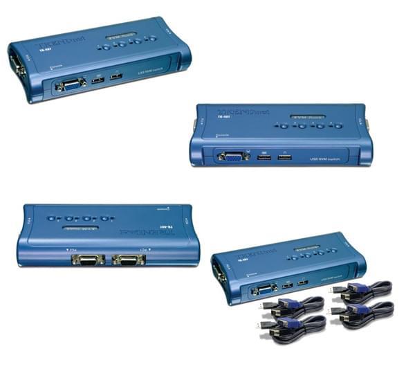 TK-407K - KVM 4 ports VGA-USB +cables - Commutateur TrendNet - 0