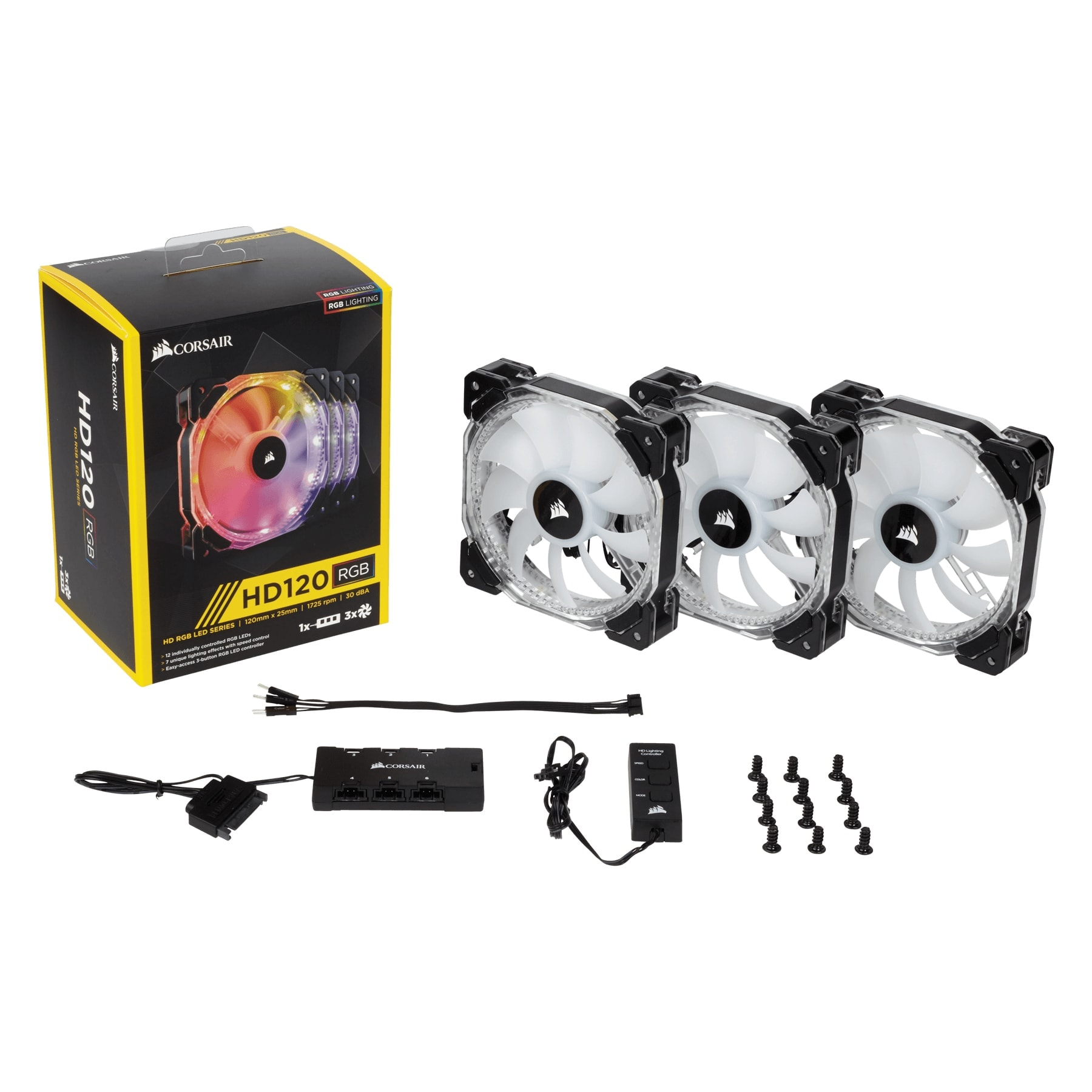 Corsair HD120 RGB (Pack de 3) Individually Adressable LED Static Pressure Fan with Controller (CO-9050067-WW) - Achat / Vente Ventilateur sur Cybertek.fr - 0