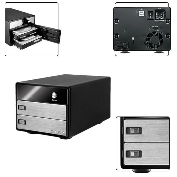 """Icy Box USB2.0 pour DD 2x3.5"""" SATA Noir - Boîtier externe - 0"""
