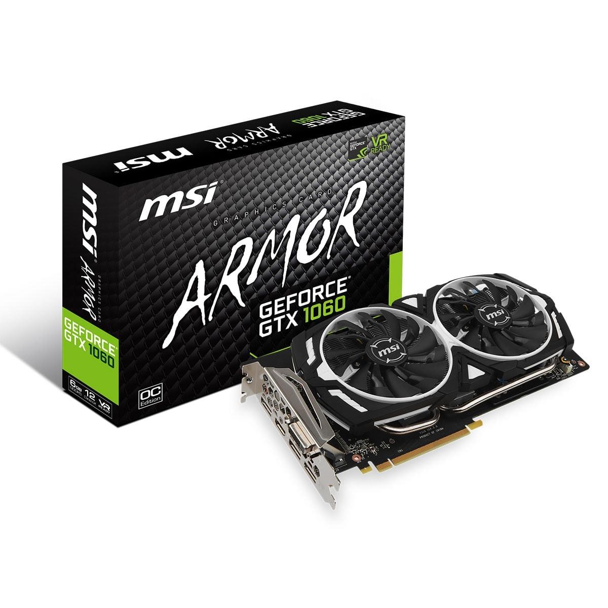 MSI GeForce GTX 1060 ARMOR 6G OC  (GTX 1060 ARMOR 6G OC --) - Achat / Vente Carte Graphique sur Cybertek.fr - 0