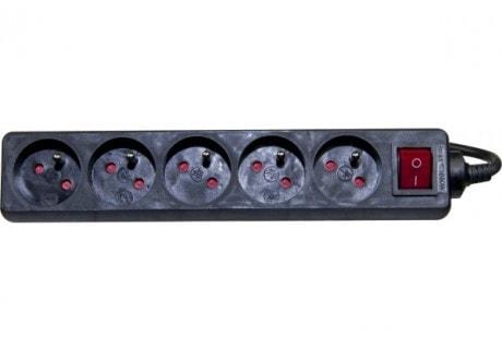5 Prises + Interrupteur - 4,00m/Noir - Onduleur No Name - 0