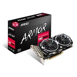 image produit MSI RX 570 ARMOR 4G OC - RX570/4Go/DVI/DP/HDMI Cybertek