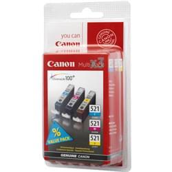 image produit Canon Pack Cartouche CLI-521 3 couleurs C,M,J - 2934B010 Cybertek
