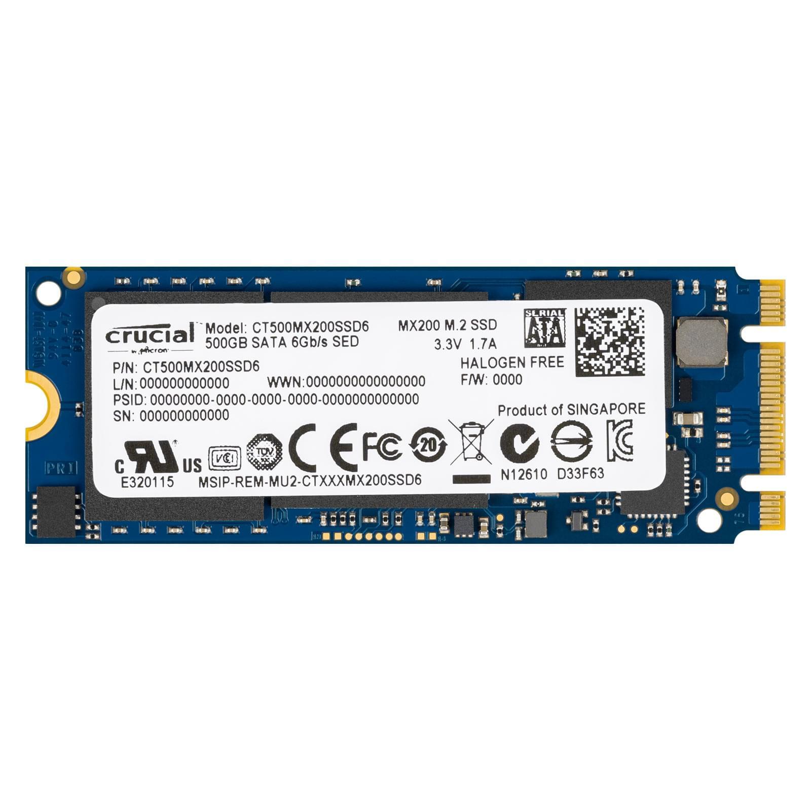 Crucial 500Go M.2 2260DS MX200 (CT500MX200SSD6) - Achat / Vente Disque SSD sur Cybertek.fr - 0