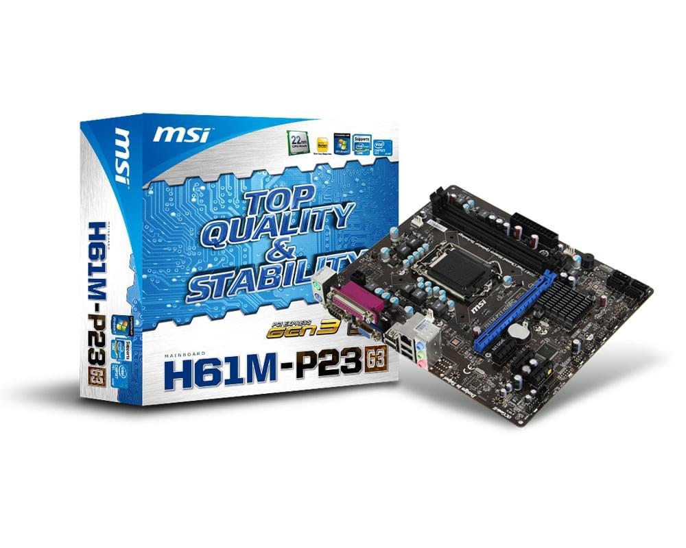 MSI H61M-P23 (G3) Micro-ATX DDR3 - Carte mère MSI - Cybertek.fr - 0