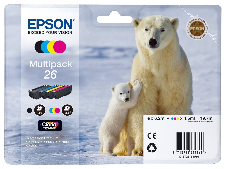 Pack Cartouches d'encre N,J,C,M  26 - T2616 pour imprimante Jet d'encre Epson - 0