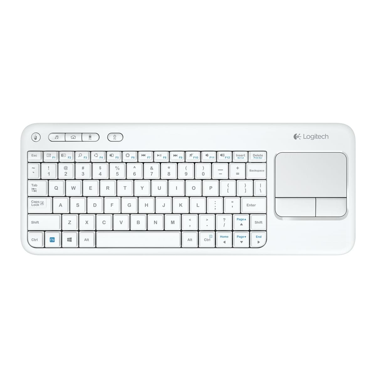 Logitech Wireless Touch Keyboard K400 White (920-005881) - Achat / Vente Clavier PC sur Cybertek.fr - 0