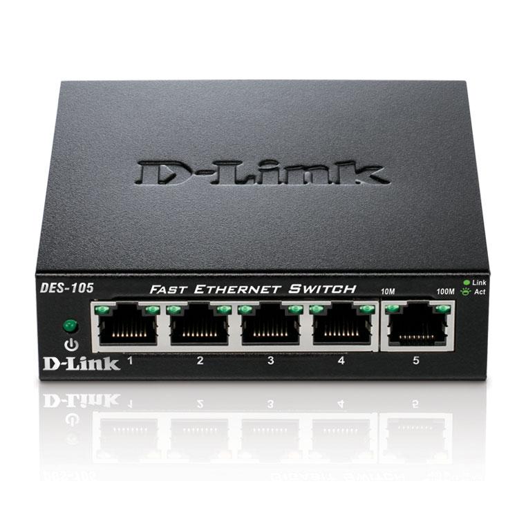 Switch D-Link 5 ports 10/100 boitier métal - DES-105 - Cybertek.fr - 0