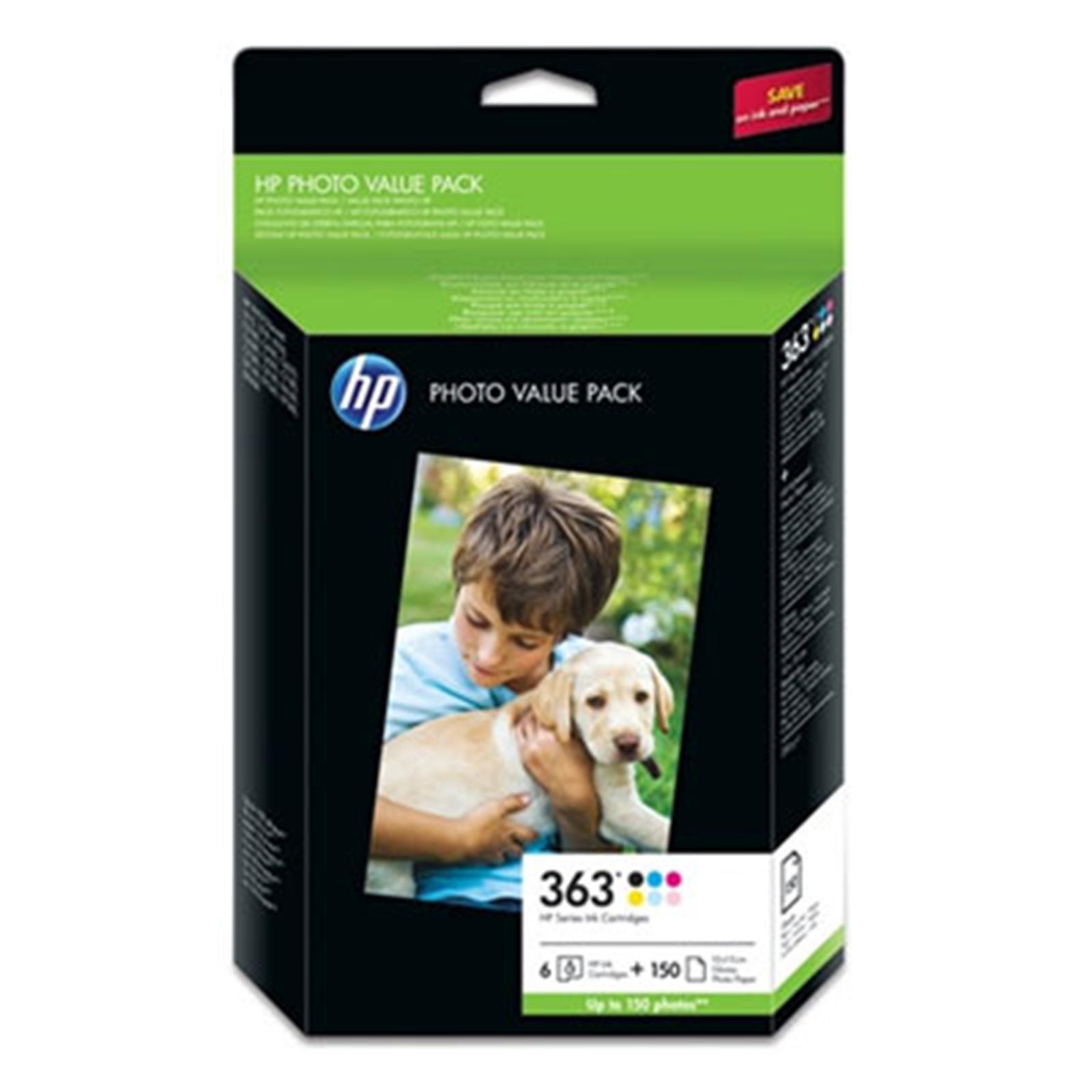 Pack de 4 Cartouches (BK/Y/M/C) + papier - HP 363 pour imprimante Jet d'encre HP - 0