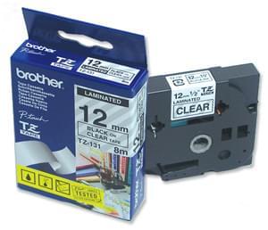 Ruban Transparent 12mm Noir - TZ131 pour imprimante  Brother - 0