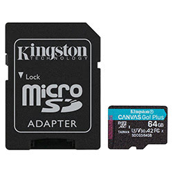 image produit Kingston Micro SDHC 64Go Class 10 A2 V30 + Adapt SDCG3/64GB Cybertek