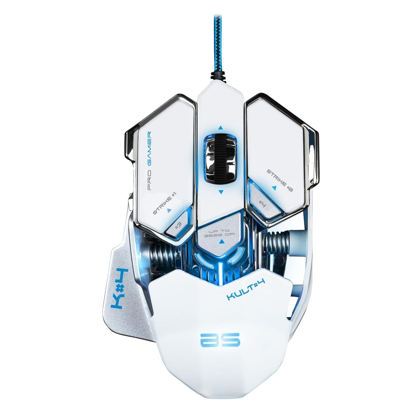 Bluestork KULT 4 WHITE ED. 3500dpi/Rétroéclairé/10 boutons (BS-GM-KULT4/W) - Achat / Vente Souris PC sur Cybertek.fr - 0