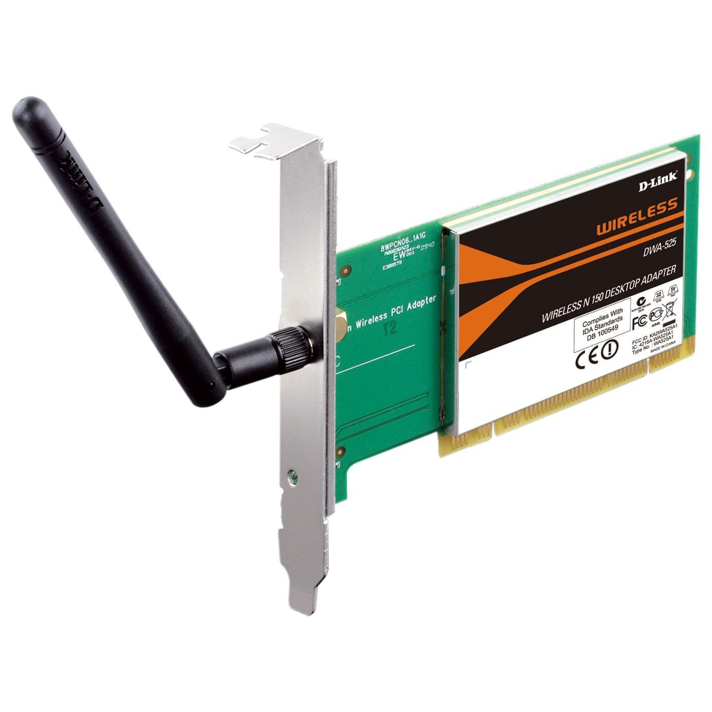 D-Link PCI WiFi 802.11N DWA-525 (150MB) (DWA-525) - Achat / Vente Carte Réseau sur Cybertek.fr - 0