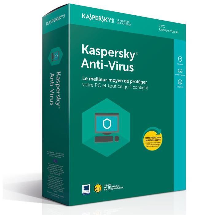 Kaspersky Antivirus 2018 - 1 An / 1 PC - Logiciel sécurité - 0