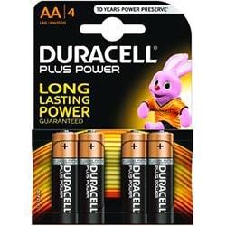 image produit Duracell Lot de 4 Piles Alcaline 1,5V LR06 - Plus Power AA  Cybertek