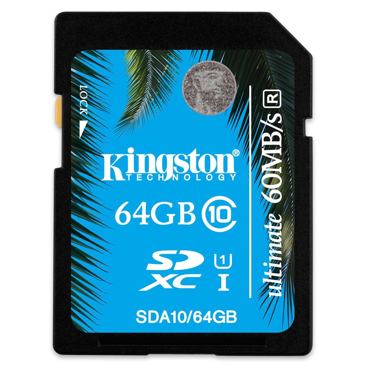 Kingston SDXC 64Go Class 10 SDA10/64GB (SDA10/64GB) - Achat / Vente Carte mémoire sur Cybertek.fr - 0