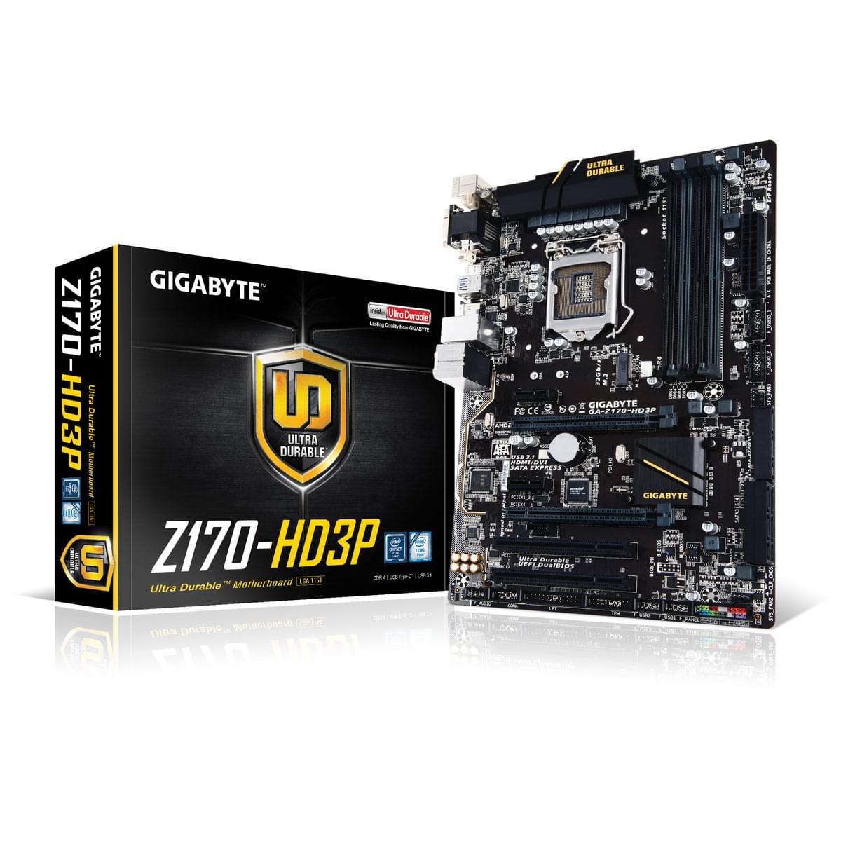 Gigabyte GA-Z170-HD3P (GA-Z170-HD3P) - Achat / Vente Carte Mère sur Cybertek.fr - 0
