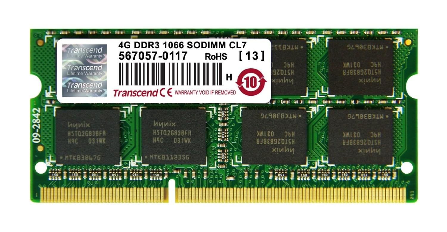 Transcend SO-DIMM 4Go DDR3 1066 CL7 JM1066KSN-4G - Mémoire PC portable - 0