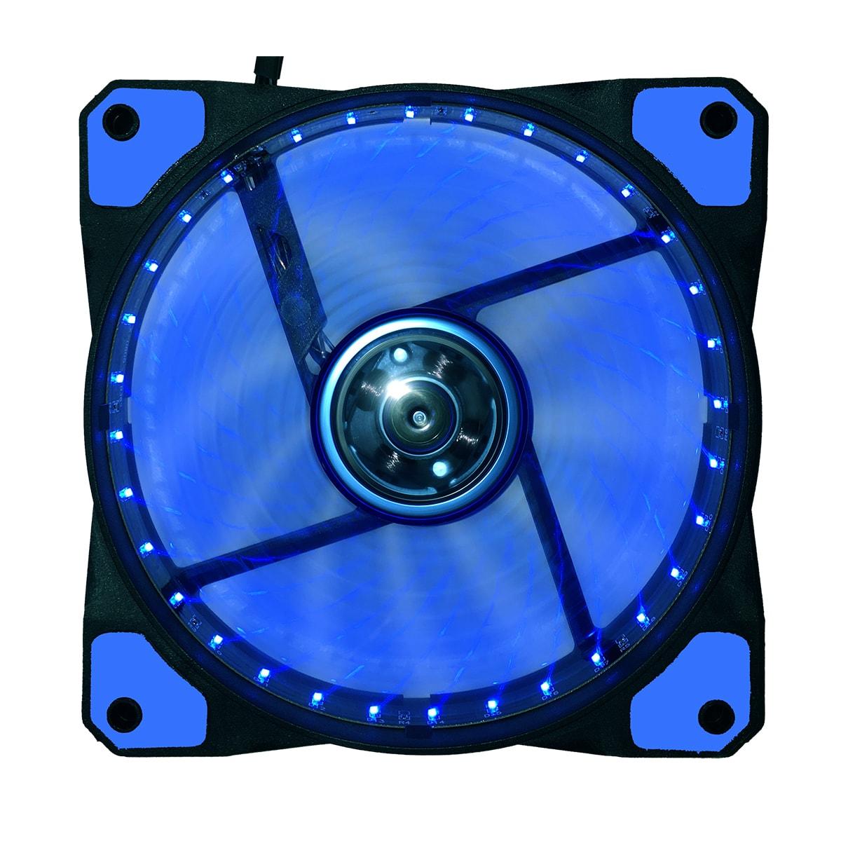 DUST DU-F12LB Ventilateur lumineux 12cm 32 LED Bleues - Ventilateur boîtier - 0