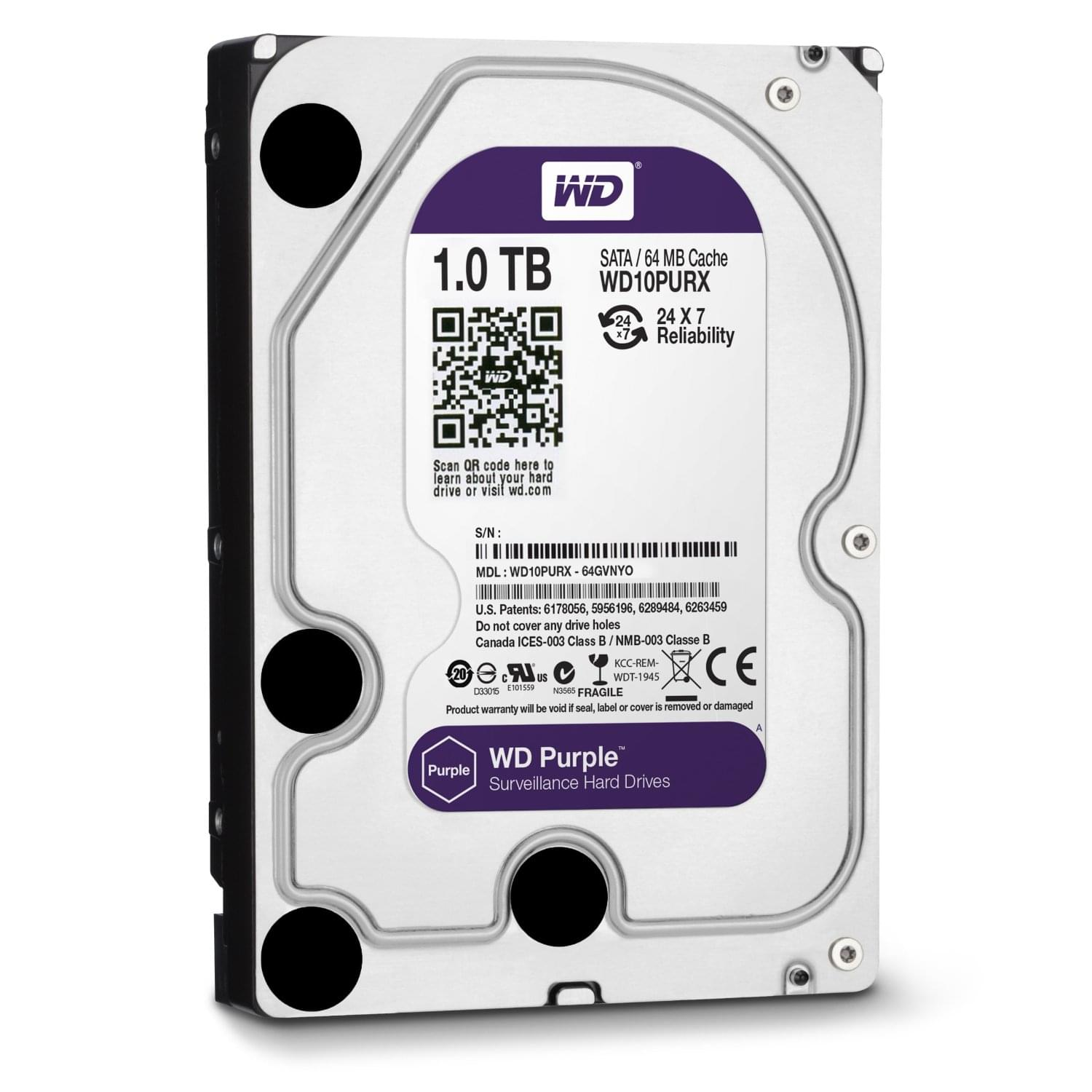 "Disque dur interne 3,5"" violet Western Digital 1 To 64Mo SATA III 6Gb - 0"