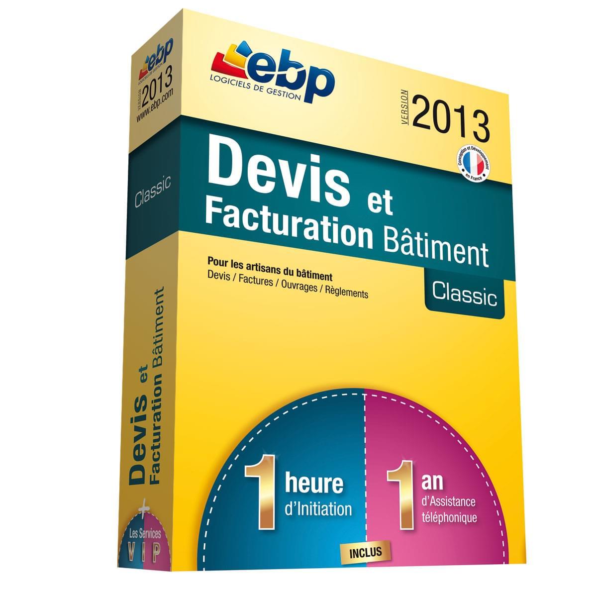 EBP Devis et Factu. Bâtiment Classic 2013+Services VIP (1088J141FAA) - Achat / Vente Logiciel application sur Cybertek.fr - 0