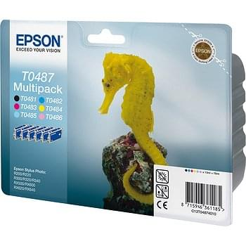 MultiPack T0487  1 Noir 5 Couleurs pour R200/300 pour imprimante Jet d'encre Epson - 0