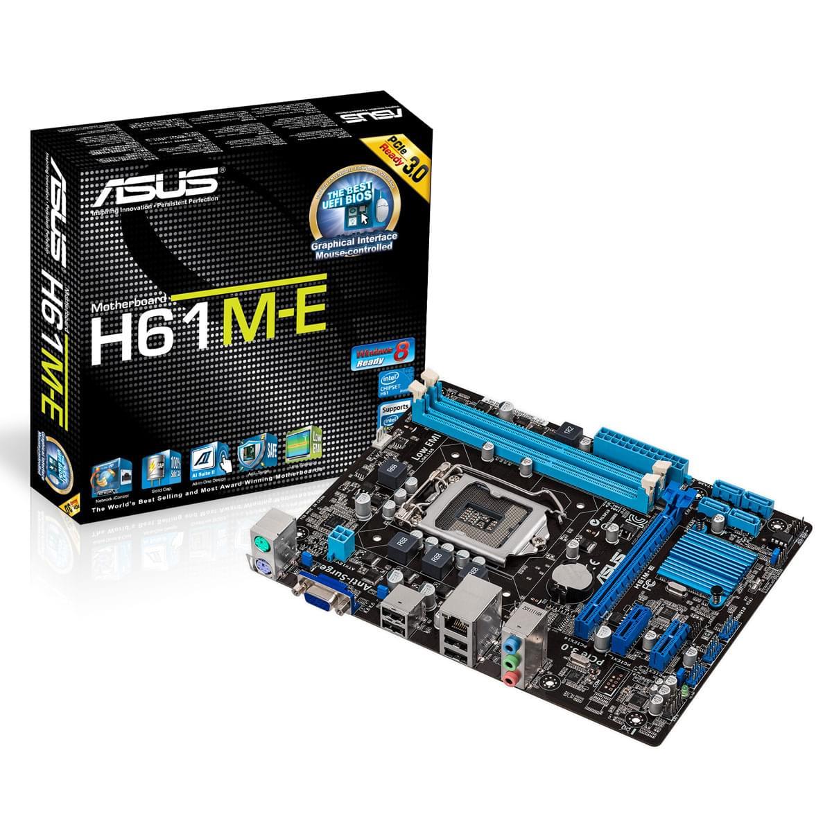 Asus H61M-E Micro-ATX DDR3 - Carte mère Asus - Cybertek.fr - 0