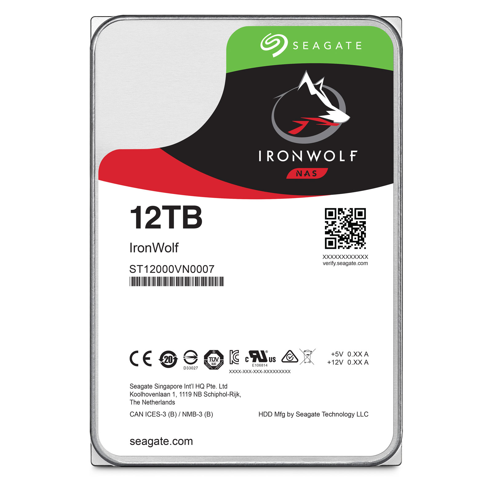 "Seagate 12To SATA III 256Mo IronWolf ST12000VN0007 - Disque dur interne 3.5"" - 0"