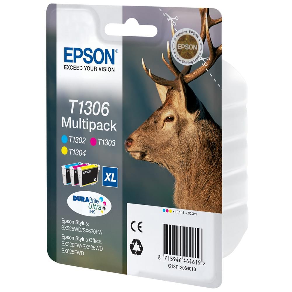Epson Pack Cartouche 3 Couleurs (M,C,J)  T1306 (C13T13064010) - Achat / Vente Consommable Imprimante sur Cybertek.fr - 0