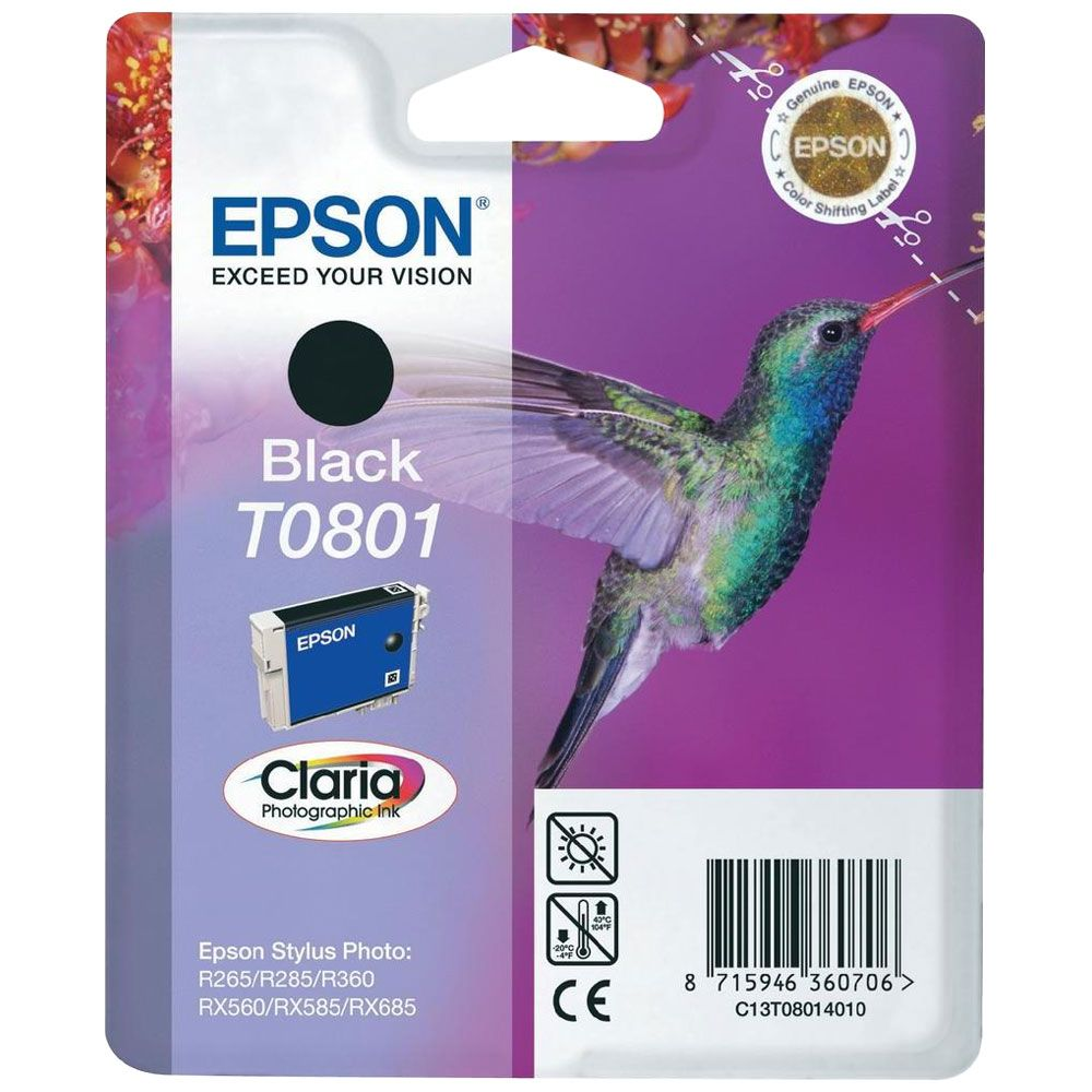 Cartouche Claria T0801 Noire pour imprimante Jet d'encre Epson - 0