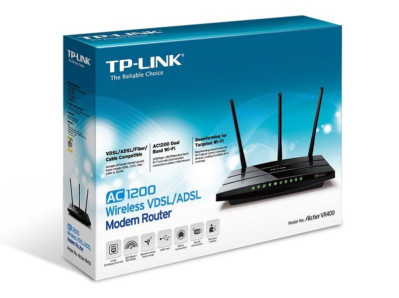TP-Link ARCHER VR400 - WiFi AC1200/vDSL/ADSL2+ - Routeur TP-Link - 1