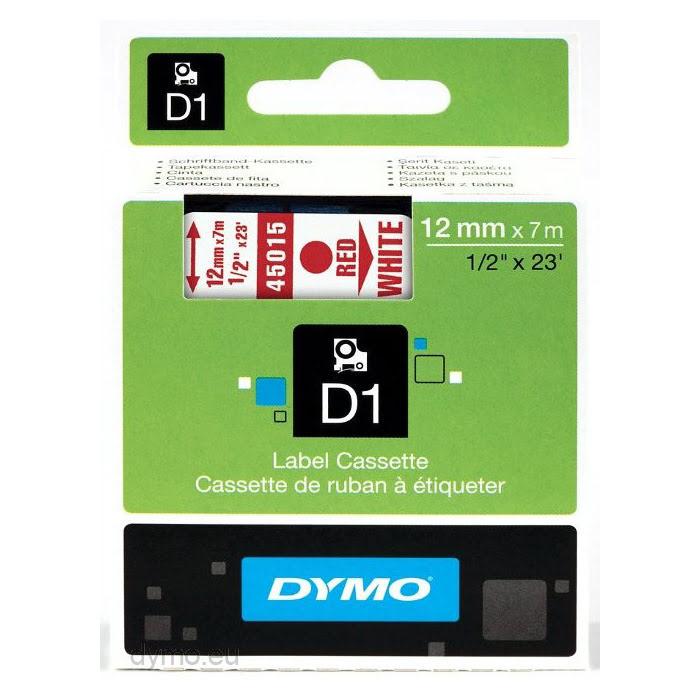 Ruban D1 12mm x 7m Rouge sur Blanc S0720550 pour imprimante Ruban Dymo - 0