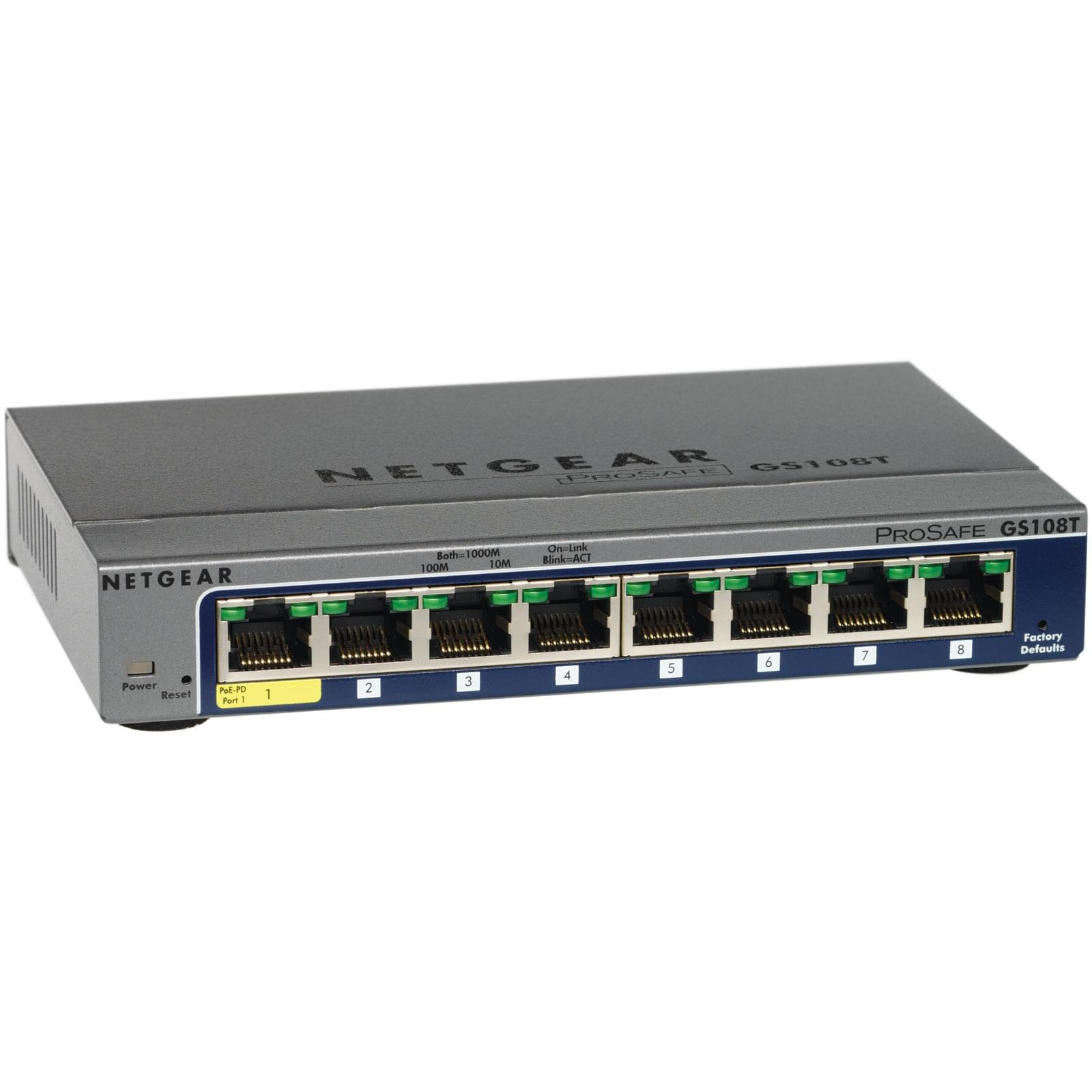 Switch Netgear GS108T-200GES 8 (ports) 10/100/1000 - 0
