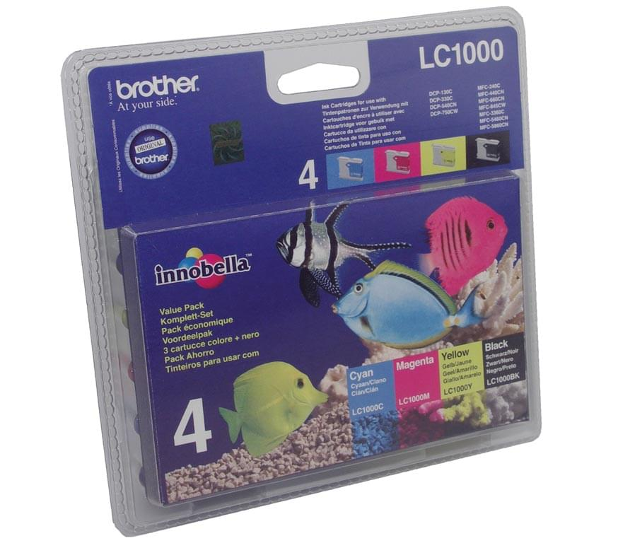 Pack de 4 cartouches LC1000 BK/C/M/Y pour imprimante Jet d'encre Brother - 0
