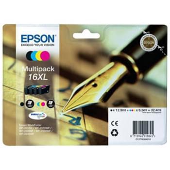 Cartouche d'encre Multipack (N,J,C,M) 16XL - T1636 pour imprimante Jet d'encre Epson - 0