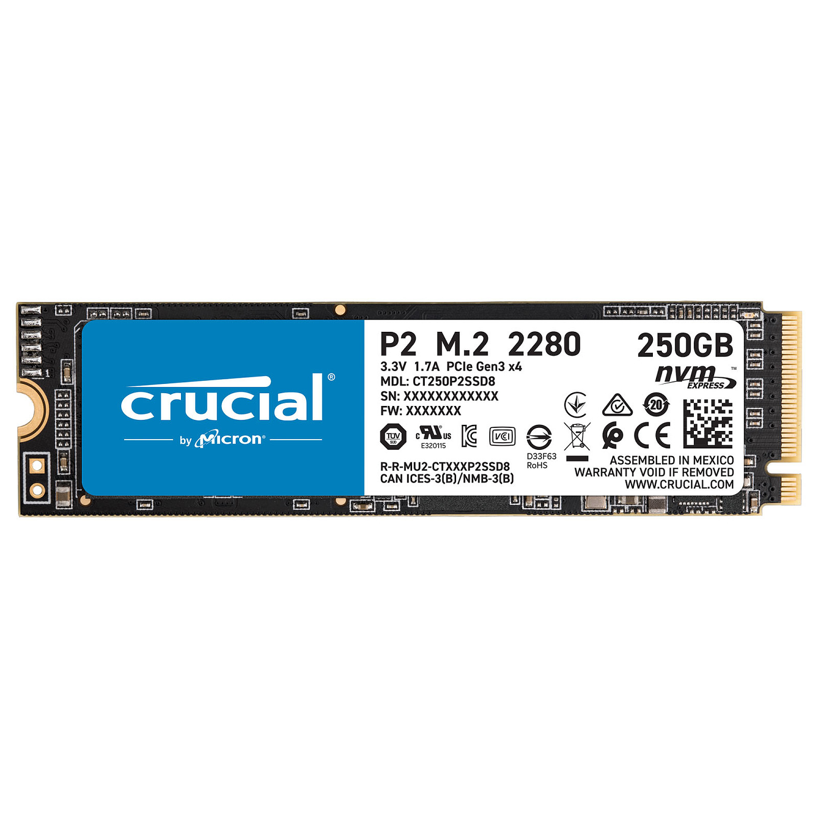Disque SSD Crucial 250Go M.2 NVMe - CT250P2SSD8 - P2