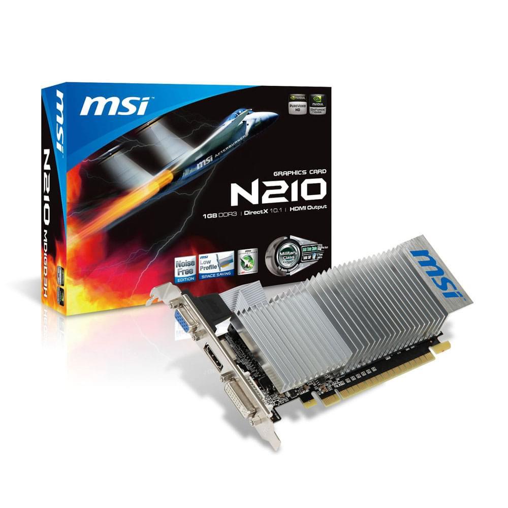 MSI N210-MD1GD3H/LP (N210-MD1GD3H/LP) - Achat / Vente Carte Graphique sur Cybertek.fr - 0