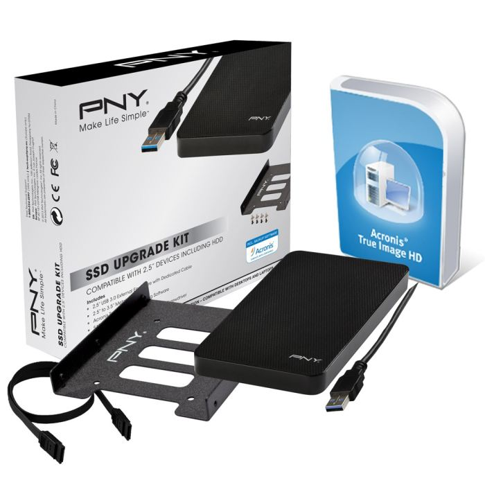 """PNY SSD Upgrade Kit (baie+boitier 2.5"""" USB3+ACRONIS) (P-91008663-E-KIT) - Achat / Vente Boîtier externe sur Cybertek.fr - 0"""