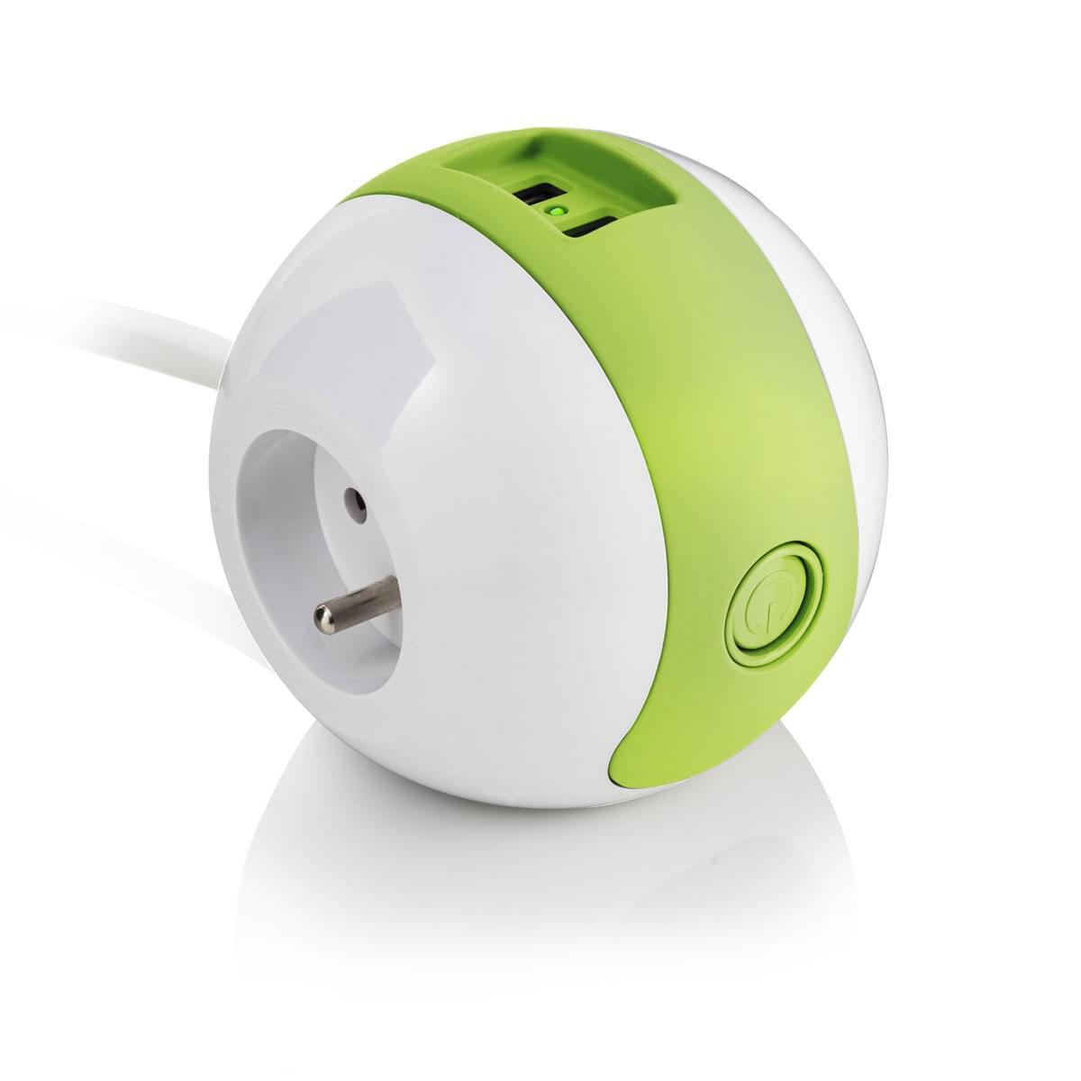 Wattball - Vert  16A + 6A + USBX2 - bouton ON/OFF  - Onduleur watt And Co - 0