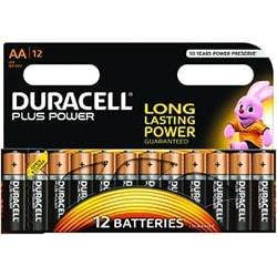 image produit Duracell Lot de 12 Piles Alcaline 1,5V LR06 - Plus Power AA Cybertek
