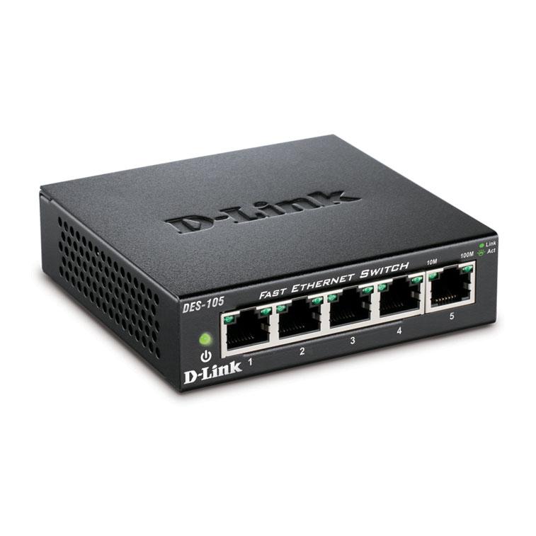 Switch D-Link 5 ports 10/100 boitier métal - DES-105 - Cybertek.fr - 2