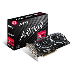 image produit MSI RX 580 ARMOR 8G OC - RX580/8Go/DVI/DP/HDMI Cybertek