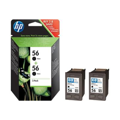 Pack de 2 cartouches Noires N°56 - C9502AE pour imprimante Jet d'encre HP - 0