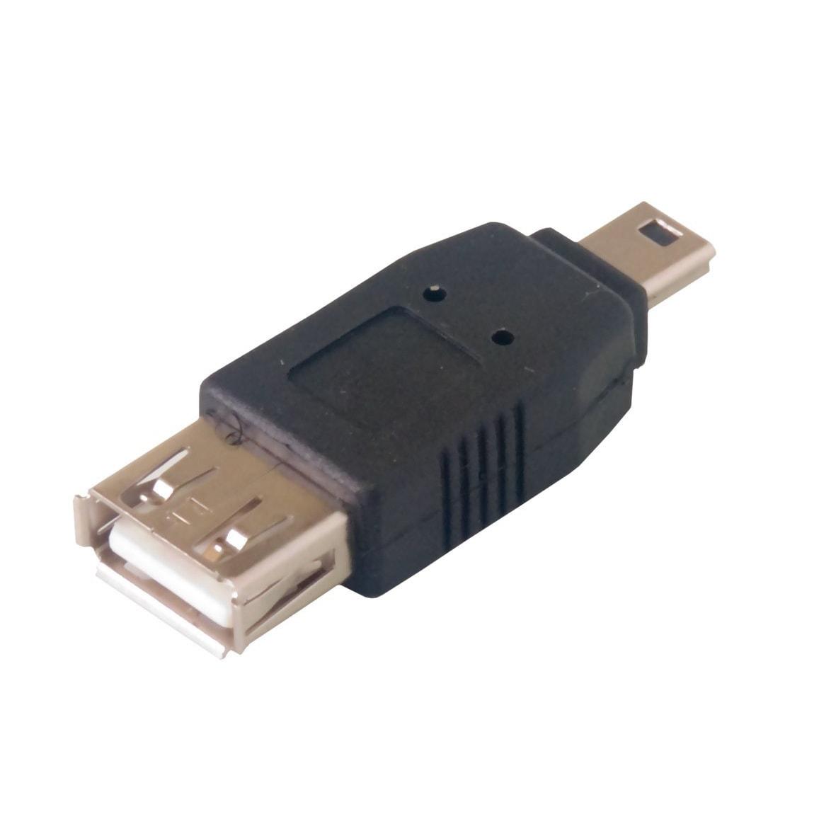 Adaptateur Mini USB B Mâle - USB A Femelle - Connectique PC - 0