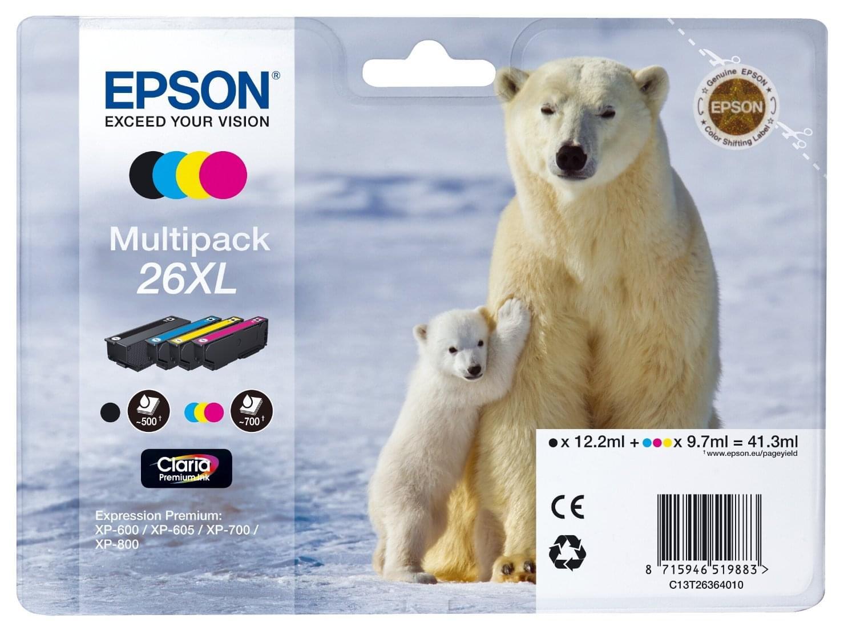 Epson Pack Cartouches d'encre N,J,C,M 26XL (C13T26364010) - Achat / Vente Consommable Imprimante sur Cybertek.fr - 0